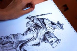 Szkic figury św. Jadwigi -rysunek, piórko