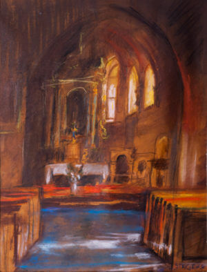 Ołtarz kościoła w Bralinie - sucha pastela