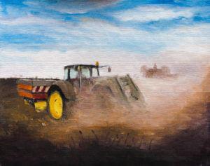 Praca w polu, traktor, żniwa - obraz olejny