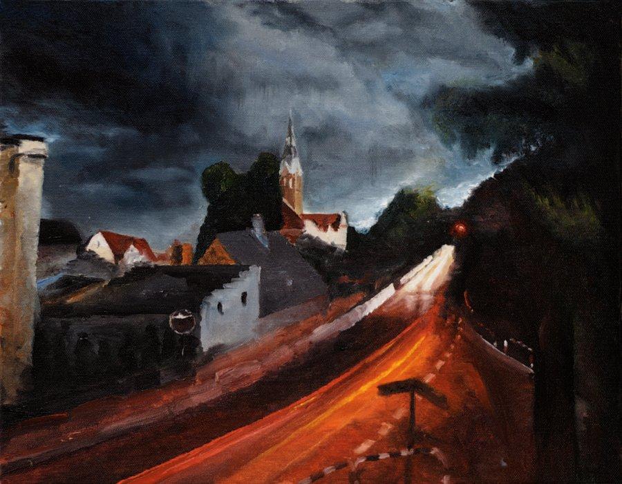 Darek Chramienko - Burza w Bralinie, olej na płótnie, 2017