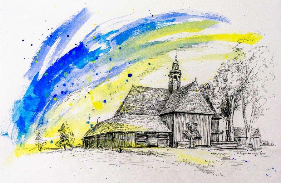 Katarzyna_Szewczyk - Pólko 2 - piórko i akryl na papierze, 2017